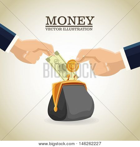 Purse coins and bills icon. Money economy commerce and market theme. Isolated design. Vector illustration