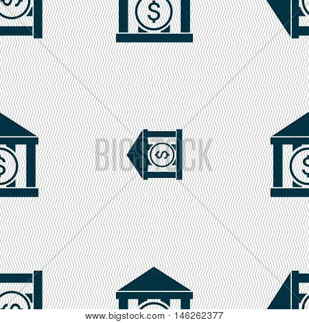 Bank Vector Icon Sign. Seamless Pattern With Geometric Texture. Vector