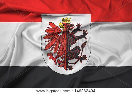 Waving Flag Of Kuyavian-pomeranian Voivodeship With Coat Of Arms, Poland
