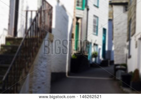 View down the old streets on Port Issac Cornwall Out of focus.