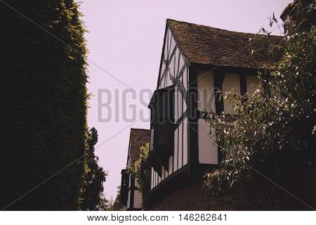 Old tudor building in Beaconsfield Buckinghamshire England Vintage Retro Filter.