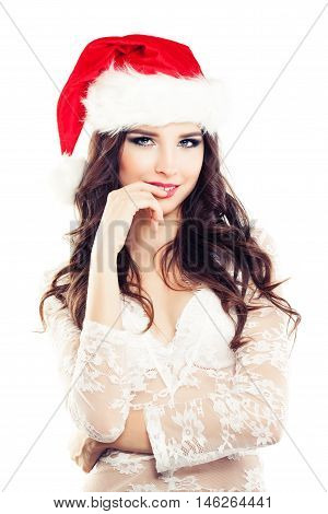 Happy Christmas Woman in Santa Hat on White Backgroung
