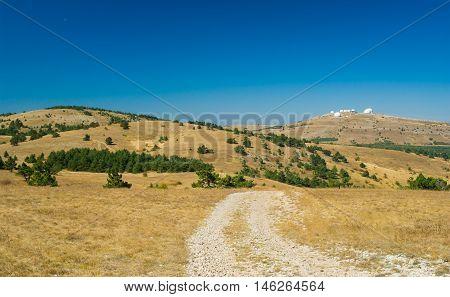 Beautiful autumnal landscape on Ai-Petri mountain tableland in Crimea Ukraine.
