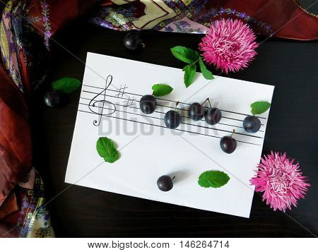 Composition made of flowers, plums, mint, shawl and stave related with the topic of music