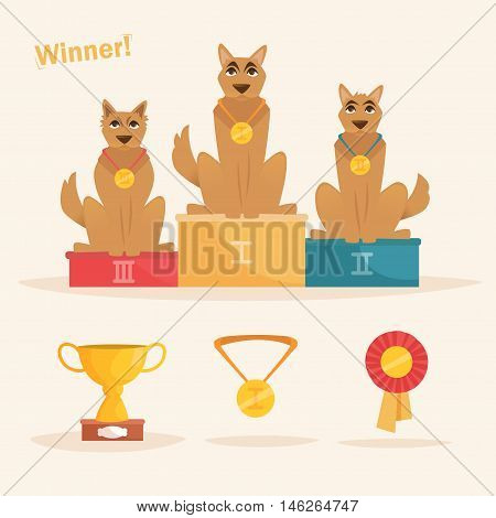 Rewarding dogs. Vector illustration. Cartoon character. Isolated. Cup, winner medal ribbon award pedestal