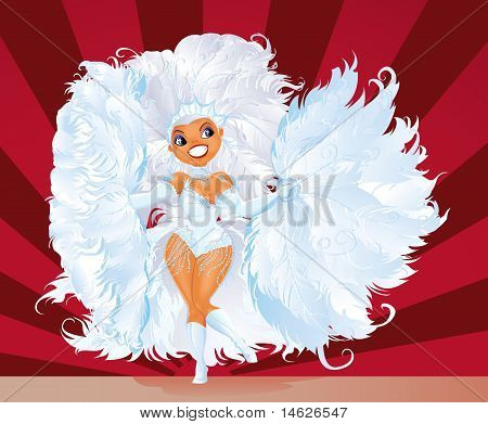 Dancing girl in carnival costume
