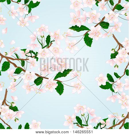 Seamless texture Wild Cherry branch natural background vector illustration