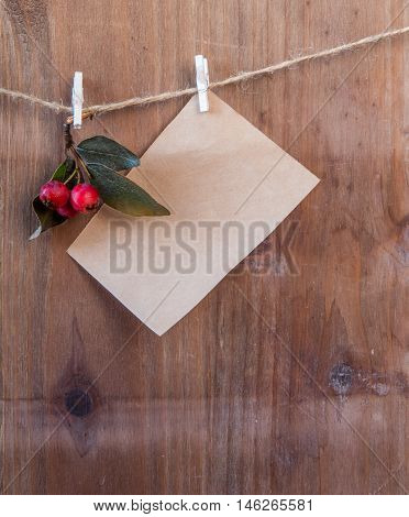 Note and winter berries on a rope with clothespins. Wishing a merry Christmas
