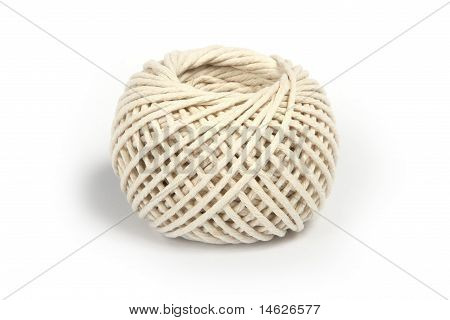 Ball of string, on white.