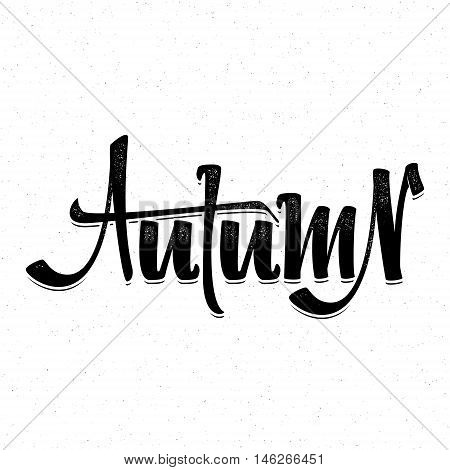Autumn poster. Badge drawn by hand, using the skills of calligraphy and lettering, collected in accordance with the rules of typography logo.