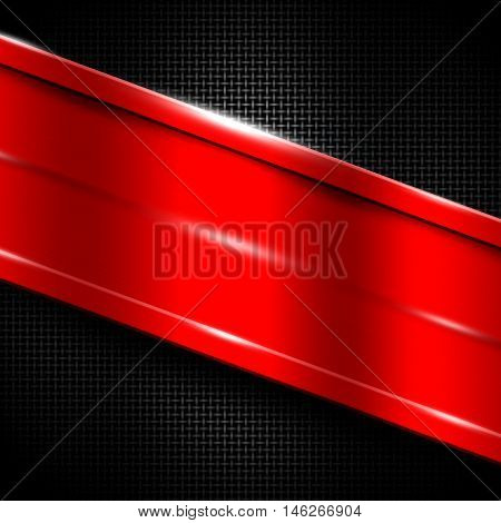 red metal frame on black metallic mesh. metal background. 3d illustration.