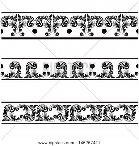 Vintage border, damask  border, ornamental  border, decor  border, golden lace, damask lace, ornamental lace, pattern lace, decor lace. Vector.