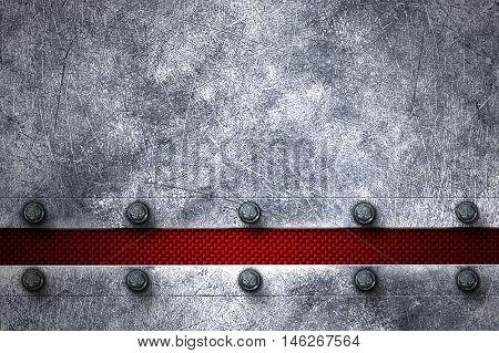 grunge metal background. rivet on metal plate and red carbon fiber. material design 3d illustration.