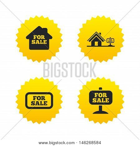 For sale icons. Real estate selling signs. Home house symbol. Yellow stars labels with flat icons. Vector