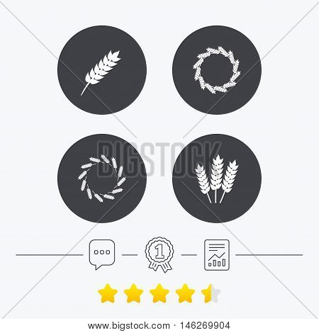 Agricultural icons. Gluten free or No gluten signs. Wreath of Wheat corn symbol. Chat, award medal and report linear icons. Star vote ranking. Vector
