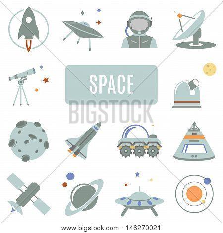 Set of vector icons. Space planet astronaut spaceship satellite