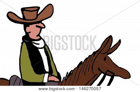 Color close-up of cowboy riding a brown horse.