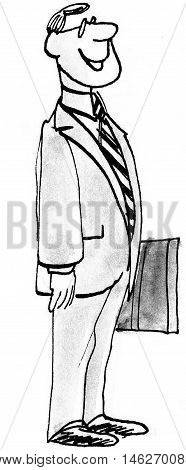 Full body business illustration showing proud, smiling, businessman.