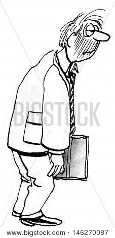 B&W full-body illustration of slumped, tired, businessman.