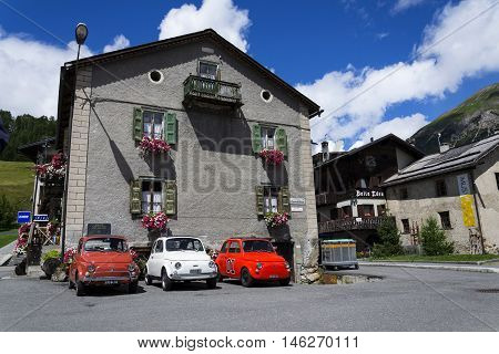 Livigno, Italy - August 1: Three Vintage Fiat 500 Cars Stand On Street On 1 August 2016 In Livigno,
