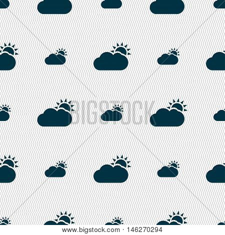 Partly Cloudy Icon Sign. Seamless Pattern With Geometric Texture. Vector