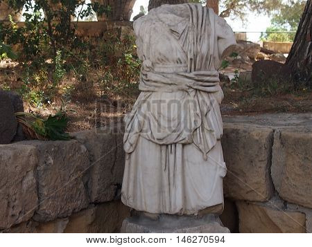torso of a statue of the Roman soldier in the territory of Carthage