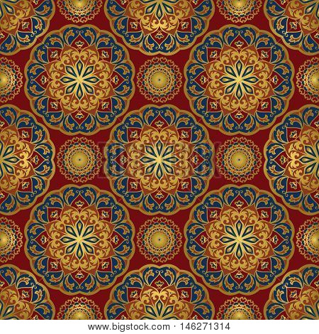Seamless oriental pattern of mandalas on a red background. Vector elegance ornament. Design for any surface. Stylized template for carpet.