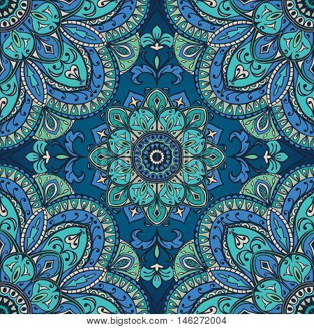 Blue ornament of mandala. Template for carpet shawl textile fabric wallpaper. Oriental seamless ornament.