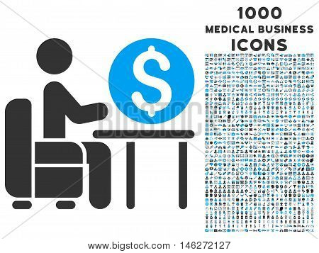 Banker Office vector bicolor icon with 1000 medical business icons. Set style is flat pictograms blue and gray colors white background.