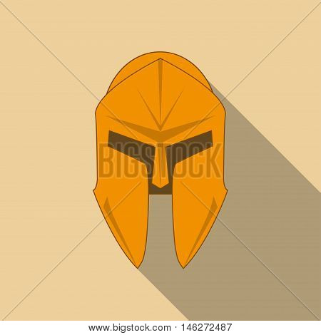 Spartan Helmet silhouette Greek warrior. Corinthian helmet with long shadow. Vector illustration eps10