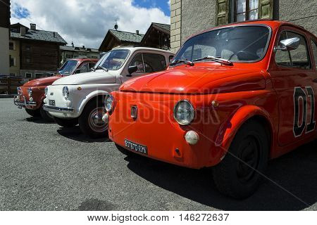 Livigno, Italy - August 1: Detail Of The Fiat 500 Car Standing On Street On 1 August 2016 In Livigno