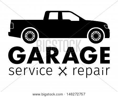 Auto center, garage service and repair logo, Vector Template.