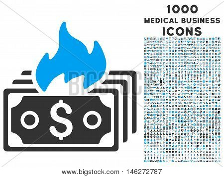 Burn Banknotes vector bicolor icon with 1000 medical business icons. Set style is flat pictograms blue and gray colors white background.