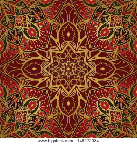Oriental red and gold ornament. Template for carpet cover textile wallpaper and any surface. Seamless vector pattern of gold contours on a red background.