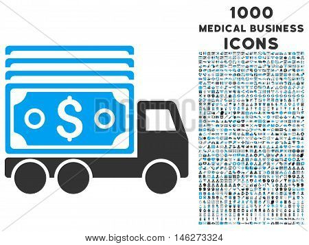 Cash Lorry vector bicolor icon with 1000 medical business icons. Set style is flat pictograms blue and gray colors white background.
