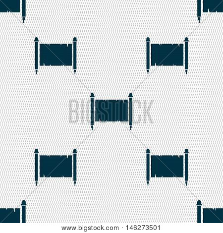 Ancient Parchment Sheet Of Paper Sign. Seamless Pattern With Geometric Texture. Vector
