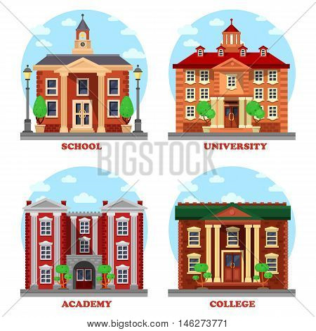 School and university, academy and college buildings. Educational architecture constructions for national science with bell and tower, lamp and columns. Can be used for pedagogics and study theme. eps 10