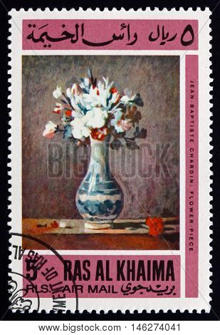 RAS AL-KHAIMAH - CIRCA 1967: a stamp printed in Ras al-Khaimah shows Vase with Flowers Painting by Jean Baptiste Chardin circa 1967
