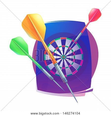 Darts icon. Badge Logo sporting symbols. Darts, dartboard, icon for sport, sporting logo and leisure design. Vector Illustration.