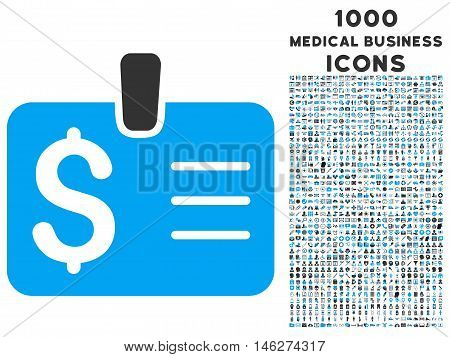 Dollar Badge vector bicolor icon with 1000 medical business icons. Set style is flat pictograms blue and gray colors white background.