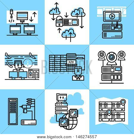 Datacenter linear concept with computer equipment cloud service information transfer and storage engineering infrastructure isolated vector illustration