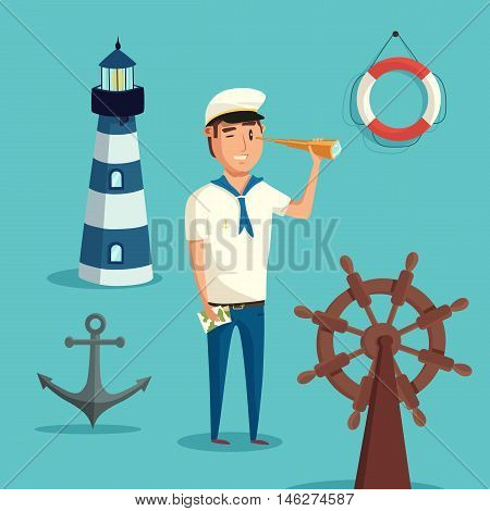 Captain or sailor with spyglass and lighthouse, anchor and wooden steering wheel of ship or boat, lifebuoy or ring buoy, lifesaver or life ring. May be used for marine or nautical, maritime or crew