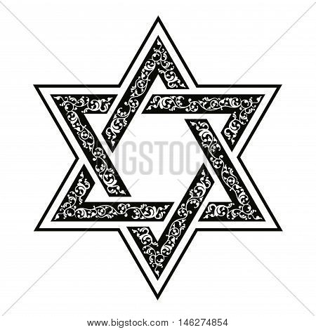 Vector hexagonal Star of David with oriental ornaments.