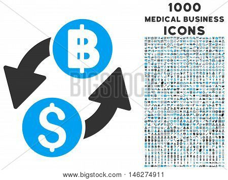 Dollar Baht Exchange vector bicolor icon with 1000 medical business icons. Set style is flat pictograms blue and gray colors white background.