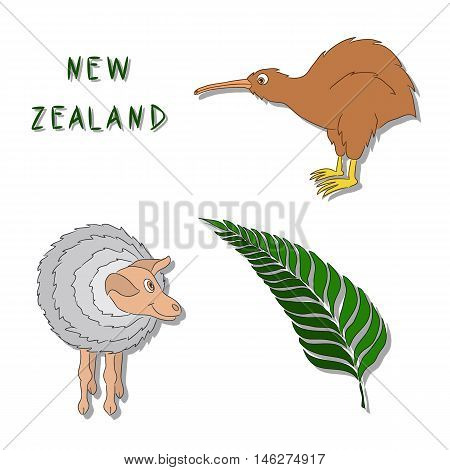 New Zealand symbols. A set of cartoon colored icons: Kiwi bird a sheep a silver fern branch. Vector illustration drawn by hand. It can be used for printing logos buttons cards.