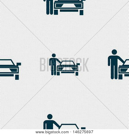 Person Up Hailing A Taxi Icon Sign. Seamless Pattern With Geometric Texture. Vector