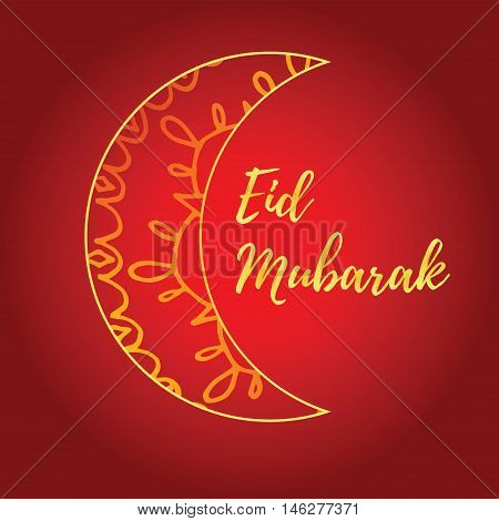 Greeting card of Eid Mubarak holiday. Golden moon on red background. Vector illustration