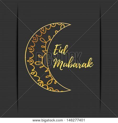 Greeting card of Eid Mubarak holiday. Golden moon on dark background. Vector illustration