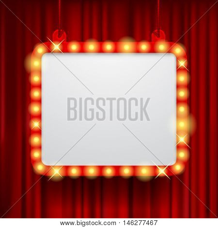 Shining party banner on red curtain background. Suspended glowing signboard. Square presentation artistic poster and placard. Vector illustration