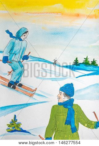 Watercolor drawing painting  female and male on ski in winer snow forest. Sport ski nature concept. Collection of hand made water color art draw paintings.